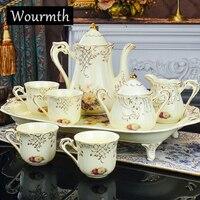 Wourmth porcelana Jingdezhen, Porcelana de ossos, europeu, xícara de café, jogo de Café de cerâmica, 15 pçs/set, onsale ~