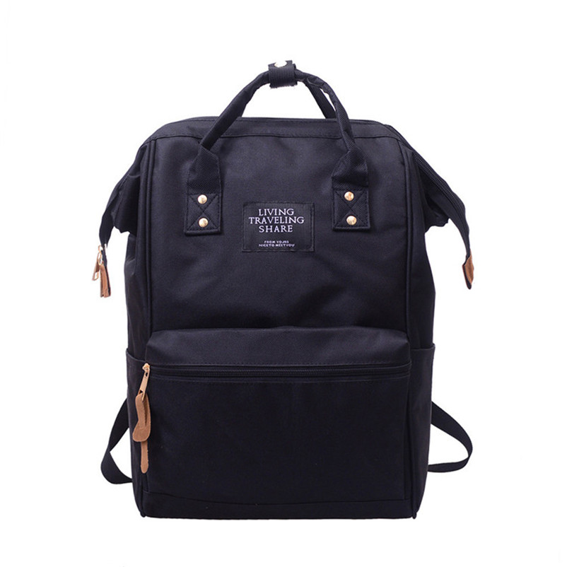High Quality Nylon Women Backpack Fashion Solid School Bags For Teenager Girls Large Capacity Casual Women Black Backpacks