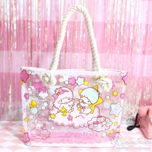 Kartun Lucu Little Twin Stars Tas Tangan Wanita Gemini PVC Tas Bahu Little Twin Stars Jelly Shopping Tas Pantai Totes tas(China)