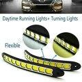 Mais novo Cabeça COB Luz Do Carro flexível À Prova D' Água Branco e Amarelo LED de Luzes Diurnas Luzes de Nevoeiro DRL com Sinal de Volta luz