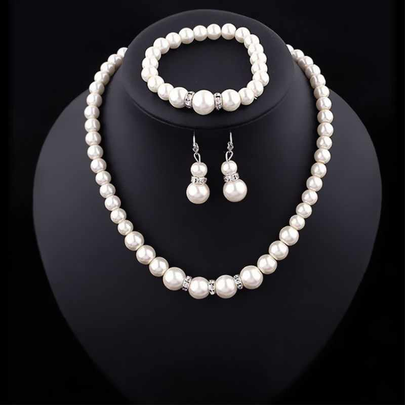 NK308 Fashion Classic Personality Wild Imitation Pearl Necklace Bride Suit Wholesale Jewelry Sets Parure Bijoux African Jewelry