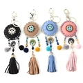 2016 Women Leather Tassels Keychain Bag Pendant Alloy Car Key Chain Ring Holder Luxurious Fashion Phone Key Chains For Ladys