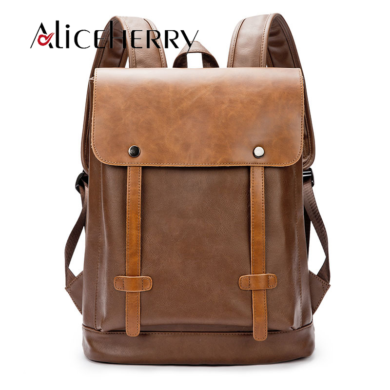 Fashion Vintage Pu Leather Men Women School Backpack Mochila Escolar Black Brown Business Laptop Backpacks Sac A Dos image