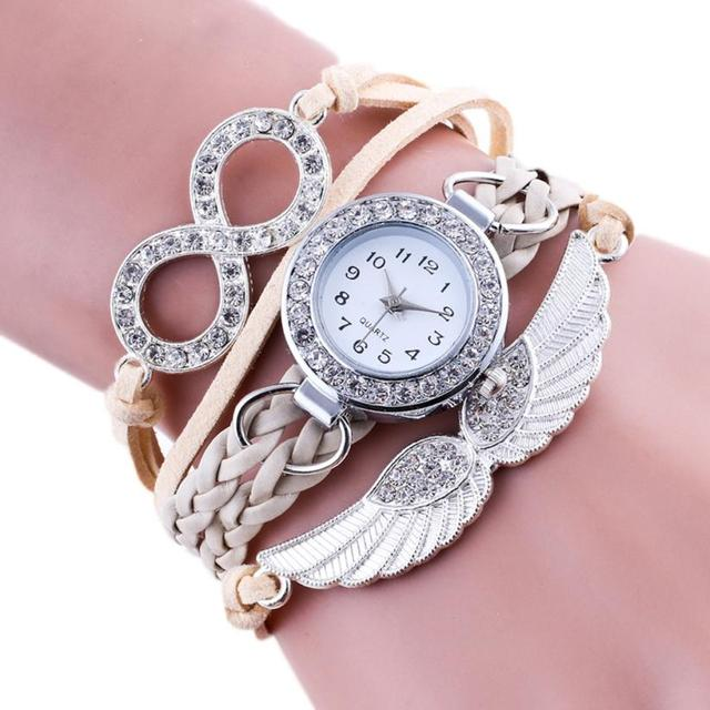Luxury Women Watches New Fashion Wing Wrap Around Bracelet Watch Synthetic Leath