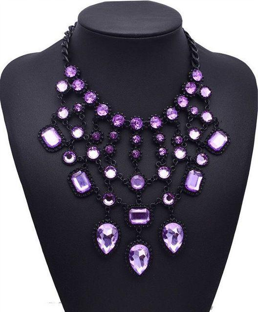 Фото женское ожерелье с подвеской в виде капли массивное кристаллами цена