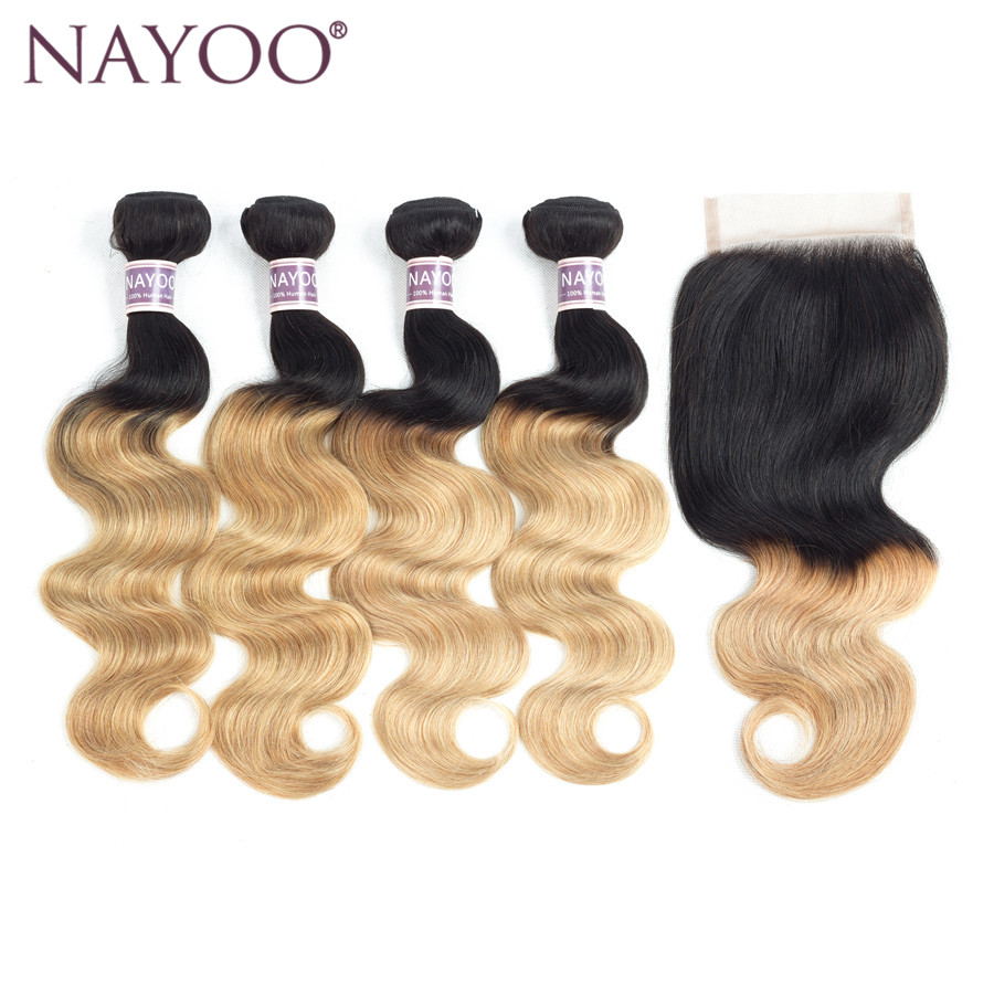 NAYOO Hair Pre -colored Hair Weave 4 Bundles With Closure 4x4 T1B/27 Ombre Brazilian Body Wave Human Hair Bundles Non Remy