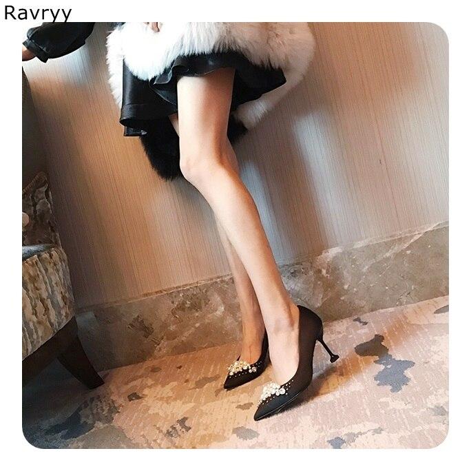 Robe Bout Mode Soirée Noir As on Sexy Chic Chaîne Perle Hauts Talons Pompe Femme De Slip Chaussures Picture Simples Ins Pointu 68g78pqw