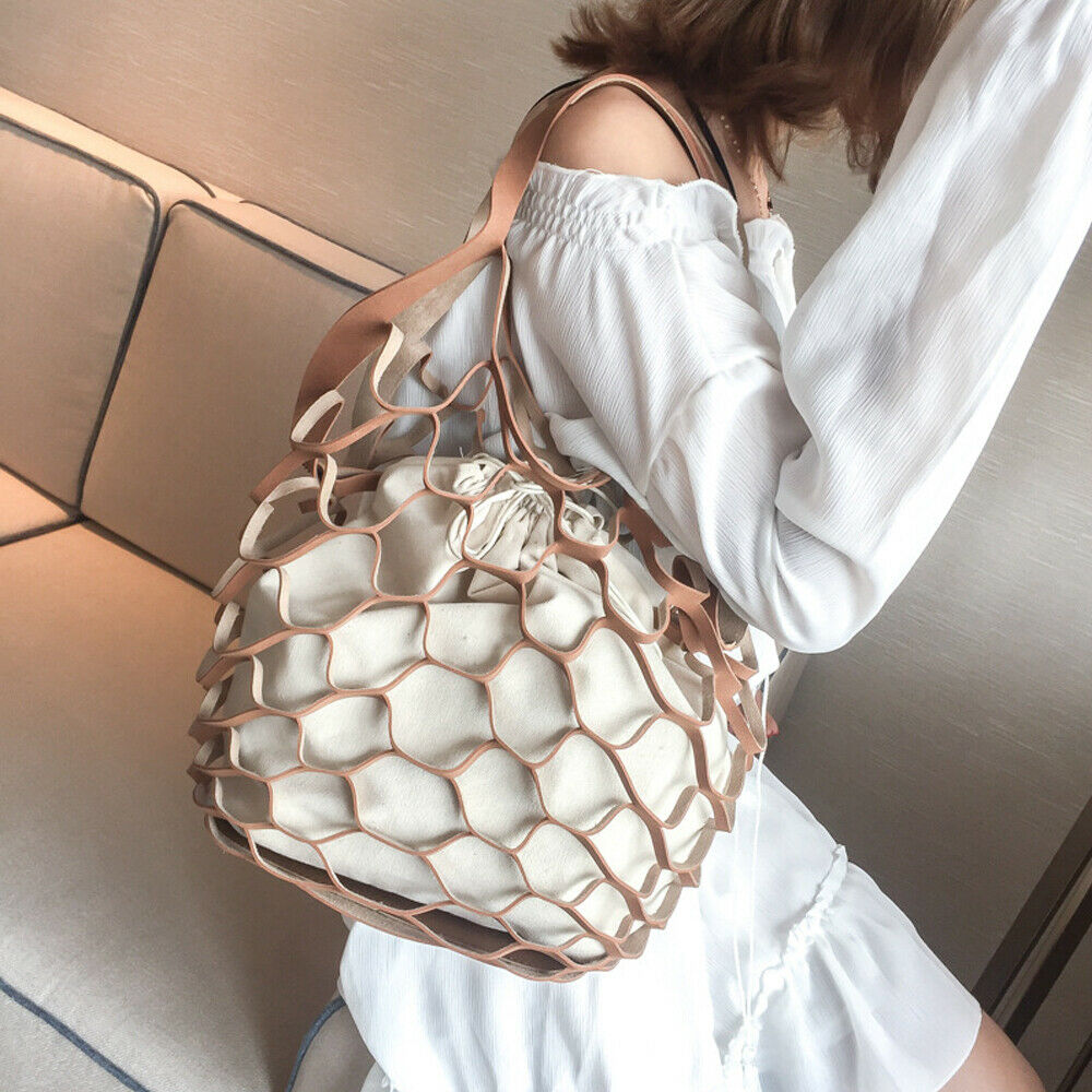 2019 Fashion Ladies Women's Large PU Leather Hollow Buckets Fish Net Boho Shopper Shoulder Bag Detachable PU Canvas Handbag