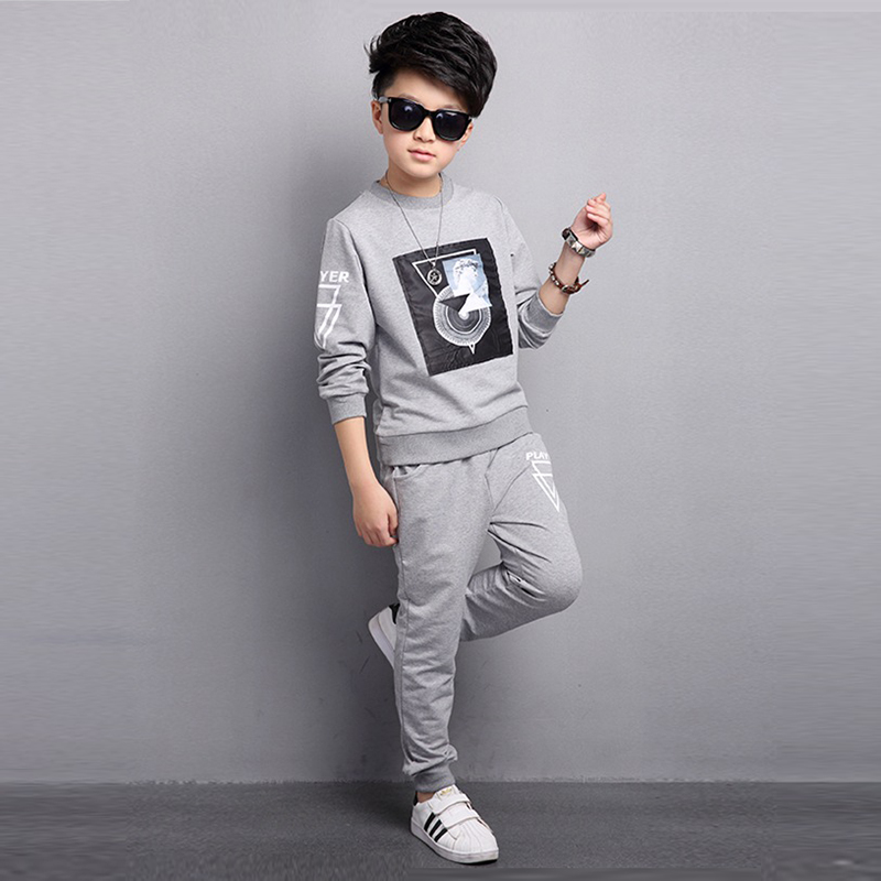 2017 Spring Autumn new boys set children print Sportswear long sleeve t-shirt+pants baby boys sports suit kids casual set