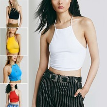 Summer Backless Cami Halter Crop Top