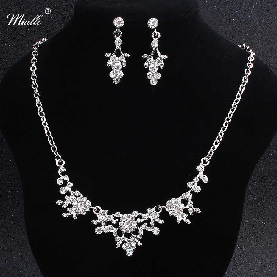 Miallo Rhinestone Bridal Jewelry Sets Women Necklace And Earrings