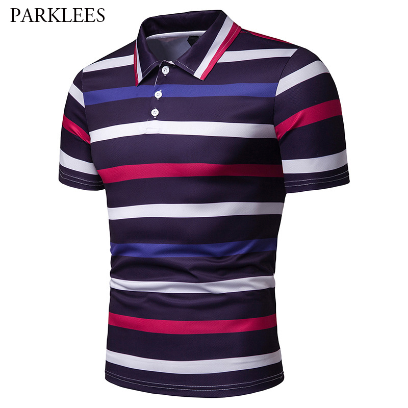 Fashion Striped   Polo   Shirt Men 2019 Summer New Short Sleeve Casual   Polo   Shirts Men Slim Fit Breathable Cotton   Polos   Para Hombre