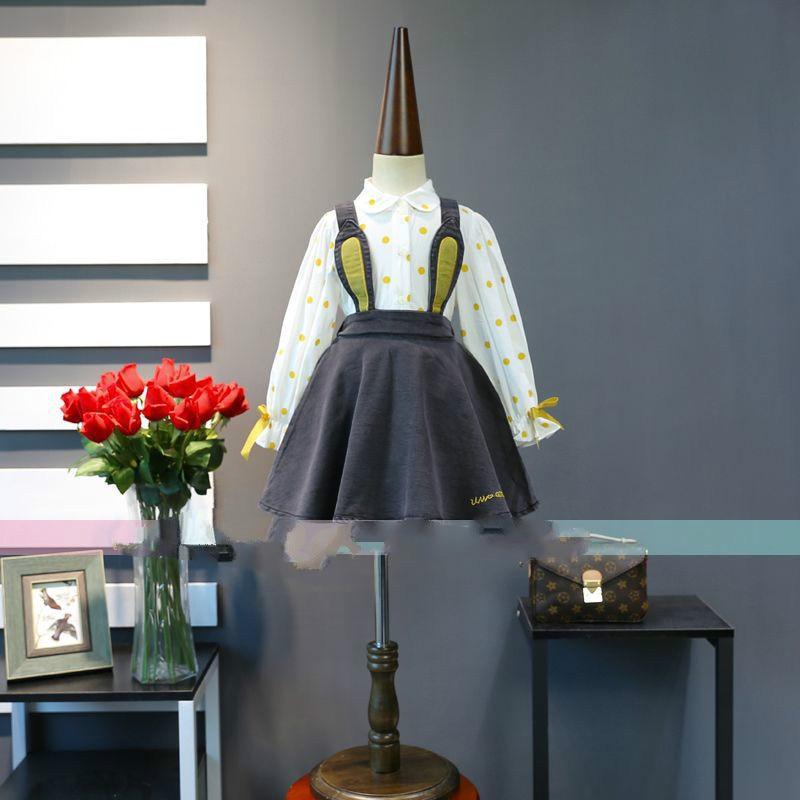 2018 spring new Korean girls cotton dot shirt with cartoon cowboy strap dress set 2018 spring new korean girls cotton dot