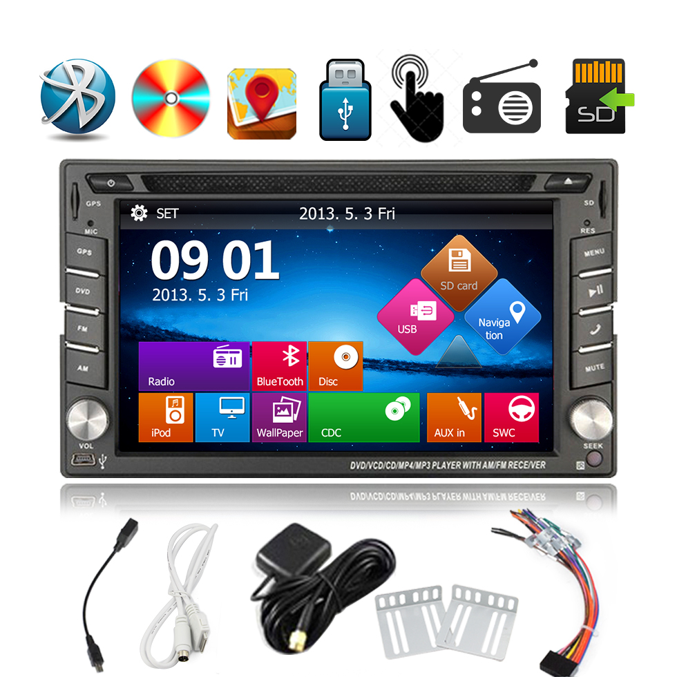 6.2inch Touch Screen In-Dash 2Din Car Stereo headunit GPS Bluetooth CD/DVD Player AM/FM/ Car Radio USB/SD/IPOD/AUX Car Audio joyous j 2611mx 7 touch screen double din car dvd player w gps ipod bluetooth fm am radio rds