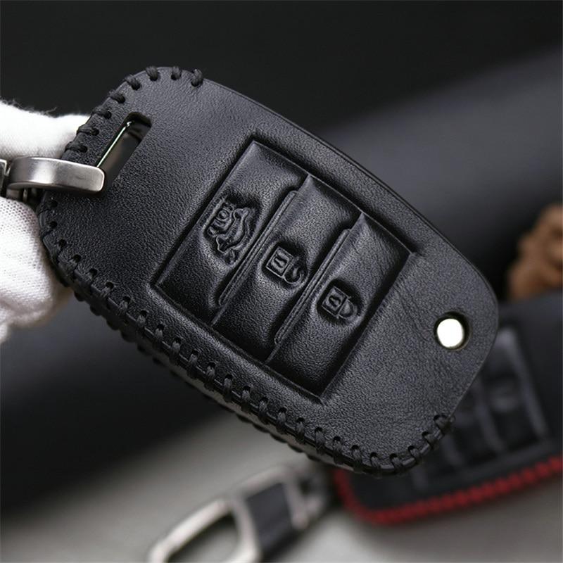 Cubierta de la caja de la llave del coche del cuero genuino para Kia - Accesorios de interior de coche - foto 5