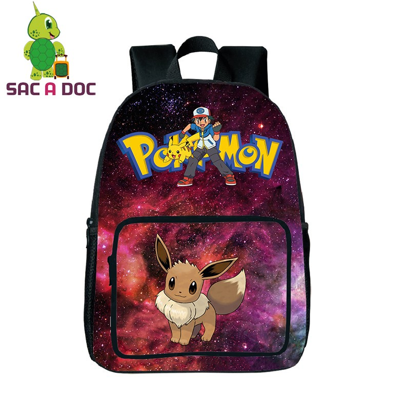 Teenage Girls Boys Galaxy Pokemon Eevee School Backpack Laptop Backpack Womens Mens Universe Space Printing Travel Rucksacks