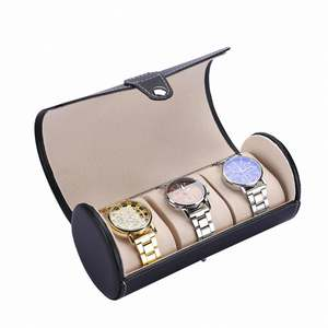 Cylinder Shape Compact Size Fashionable Watch Box Soft PU Leather Watch Storage Box Watch Display Slot Case Box Case