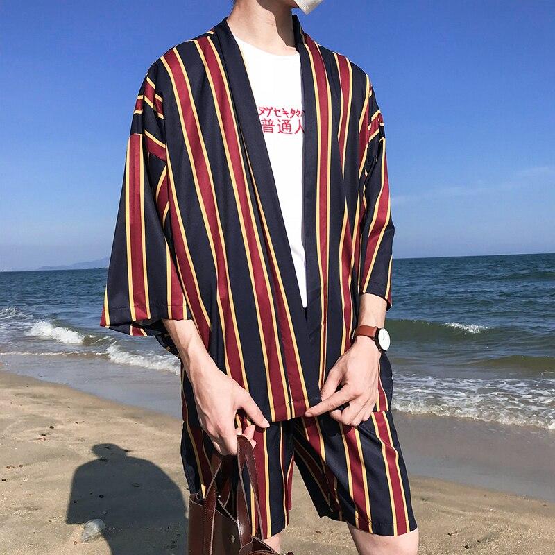 Puntada abierta rayada verano Playa Sol proteger chaqueta hombres 2018 estilo fino Kimono chaquetas 3 colores
