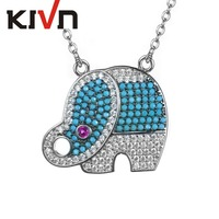 KIVN Fashion Jewelry Pave Cubic Zirconia Lucky Animal Elephant Womens Girls Pendants Necklaces Birthday Gifts 6pcs Lot Wholesale