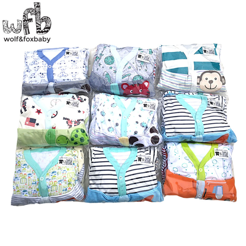 Clothing Jumpsuits Footies Infant Girls 0-12months Baby Boys Cartoon Long-Sleeved 3pcs/Pack