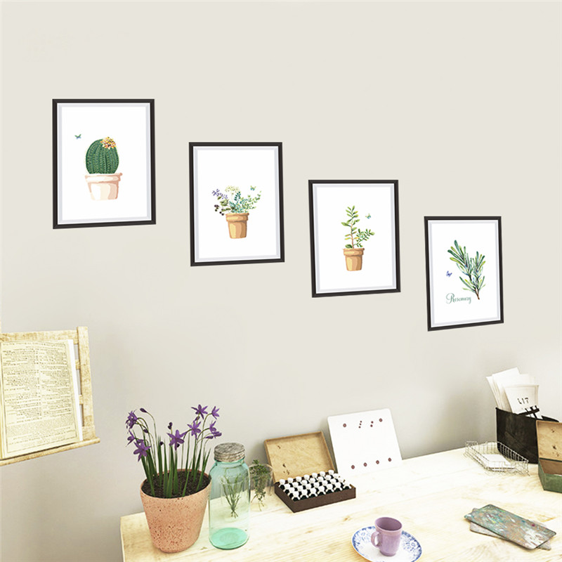 fowers plant pot butterfly photo frame wall stickers art decals kitchen room office home decorations diy pvc decals kids gift
