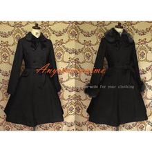 Free Shipping Gothic Lolita Punk Black Wool Coat Dress Cosplay Costume Tailor-made