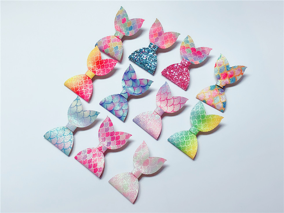 Boutique ins 22pcs Fashion Glitter Gradient Rainbow Bowknot Hairpins Fairy Mermaid Tail Bow Hair Clips Princess