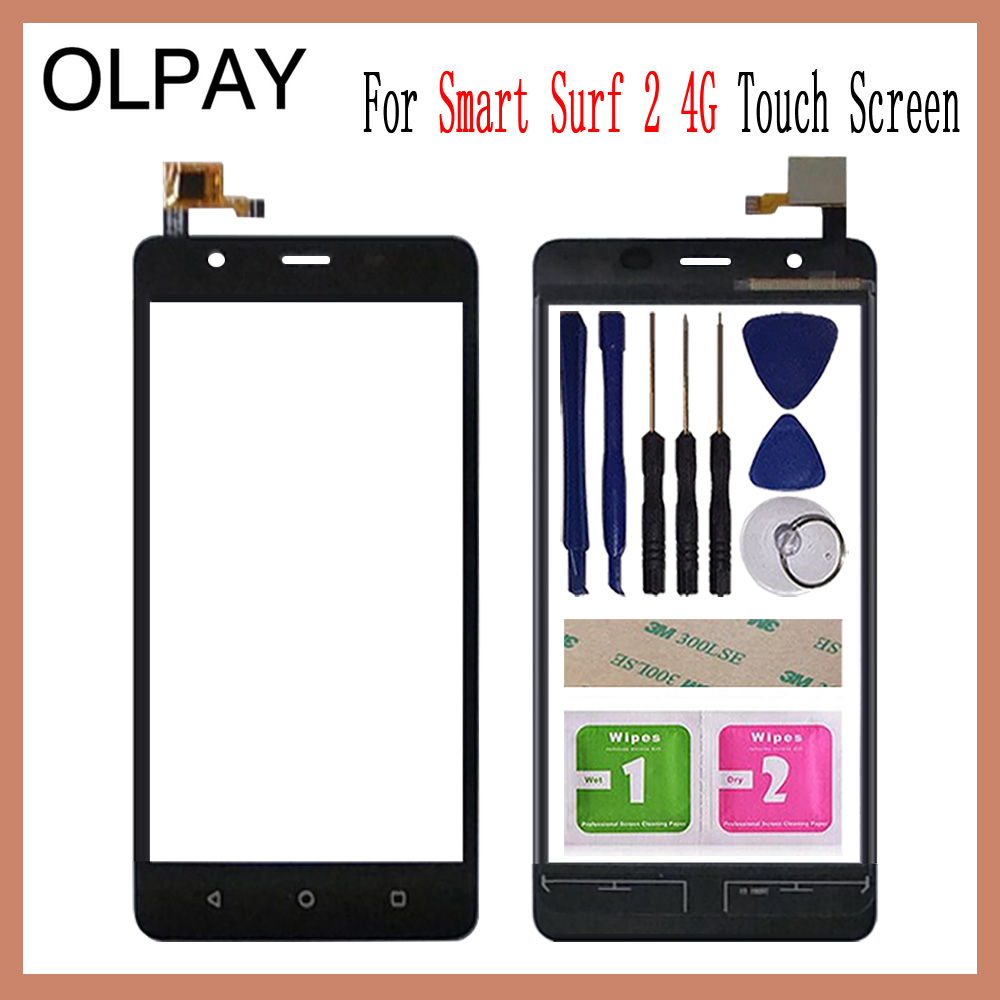 OLPAY 5.0'' For MTC Smart Surf 2 4G Touch Screen Digitizer Panel Front Outer Front Glass Lens Sensor Free Adhesive+Wipes