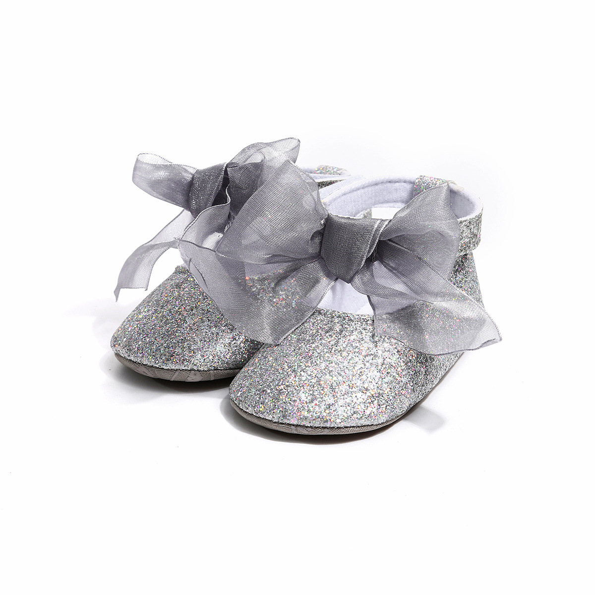 E-FAK Baby Girls Sparkly Mary Jane Flats with Bowknot Non-Slip Soft Rubber Sole Toddler First Walkers Princess Dress Shoes