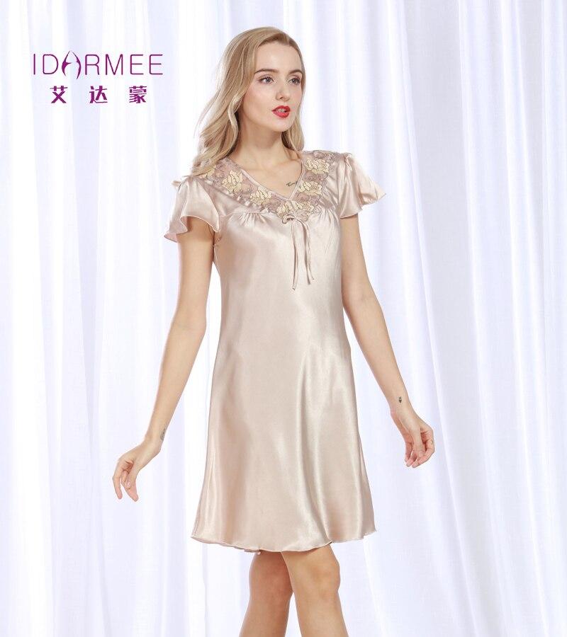 Silk Dressing Gowns Ladies: IDARMEE S1030 Brand Upscale Women Nightgowns Faux Silk