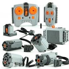 Technic Power Functions Motor Train Set IR RX TX Servo Battery Box Blocks Toys Compatible 20004 20001