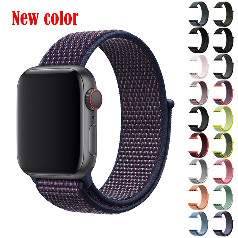 BUMVOR Sport Woven Nylon Band Strap Wrist Bracelet Belt Fabric-like Nylon Band For Iwatch 4/3/2/1 For Apple Watch 44/40/42/38MM