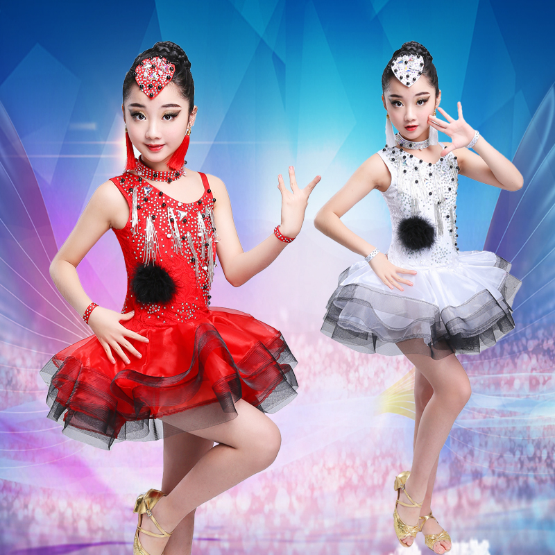 2019 New Latin Tassel Dance Skirt For Children New Arrival Sexy Rumba Sumba Competition Dancing Wear Girls Latin Dance Dress