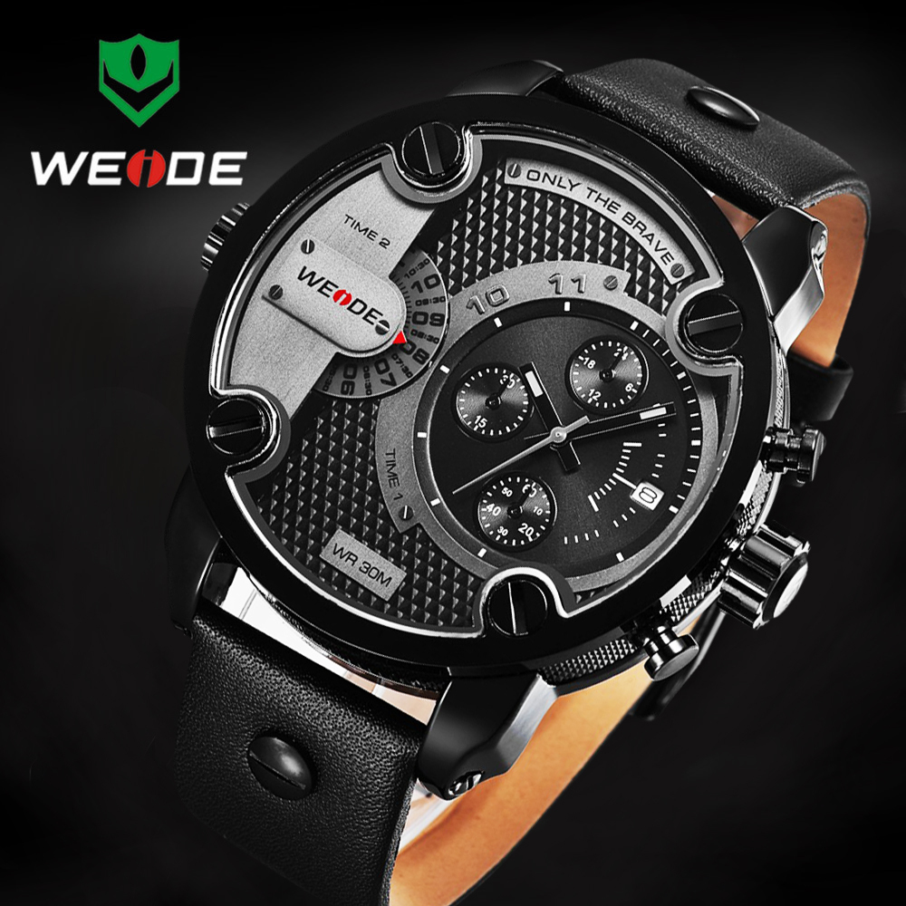 WEIDE Brand Luxury Sport Watches For Men Analog Watch Army Waterproof  Wristwatches Leather Band Sport Military Men Watch hombre weide new men quartz casual watch army military sports watch waterproof back light men watches alarm clock multiple time zone