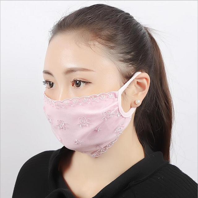 Summer Spring Lace Breathable face mask sun protective Shade anti-dust mouth mask cotton Mouth-muffle Mask Flu Face masks 2