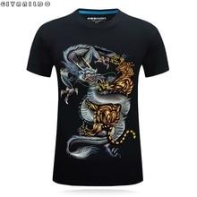Givanildo Men 3D T-Shirt Short Sleeve Stereo Domineering Printing Dragon And Tiger Plus Size S-6XL Fashion Tee Shirts G082