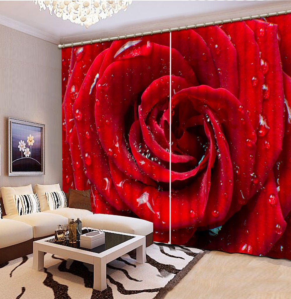 3d curtains red rose curtains for living room 3d window - Cortinas de cuentas ...