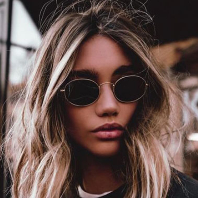 57e8498aa52d0 POLYREAL Cute Sexy Retro Oval Sunglasses Women Famous Brand Design Small  Gold Black 2018 New Vintage