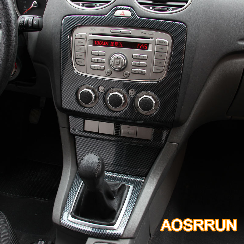 Aosrrun For Ford Focus 2 Mk2 5 2009 2011 Carbon Fiber Style Console Gear Car Accessories Car