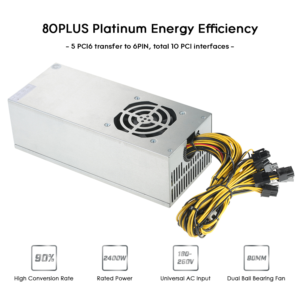2400W Switching Server Power Supply 90% Mining Machine Power Source for Ethereum S9 S7 L3 Rig Mining 180-260V отвертка шлицевая sl6 38 vettler
