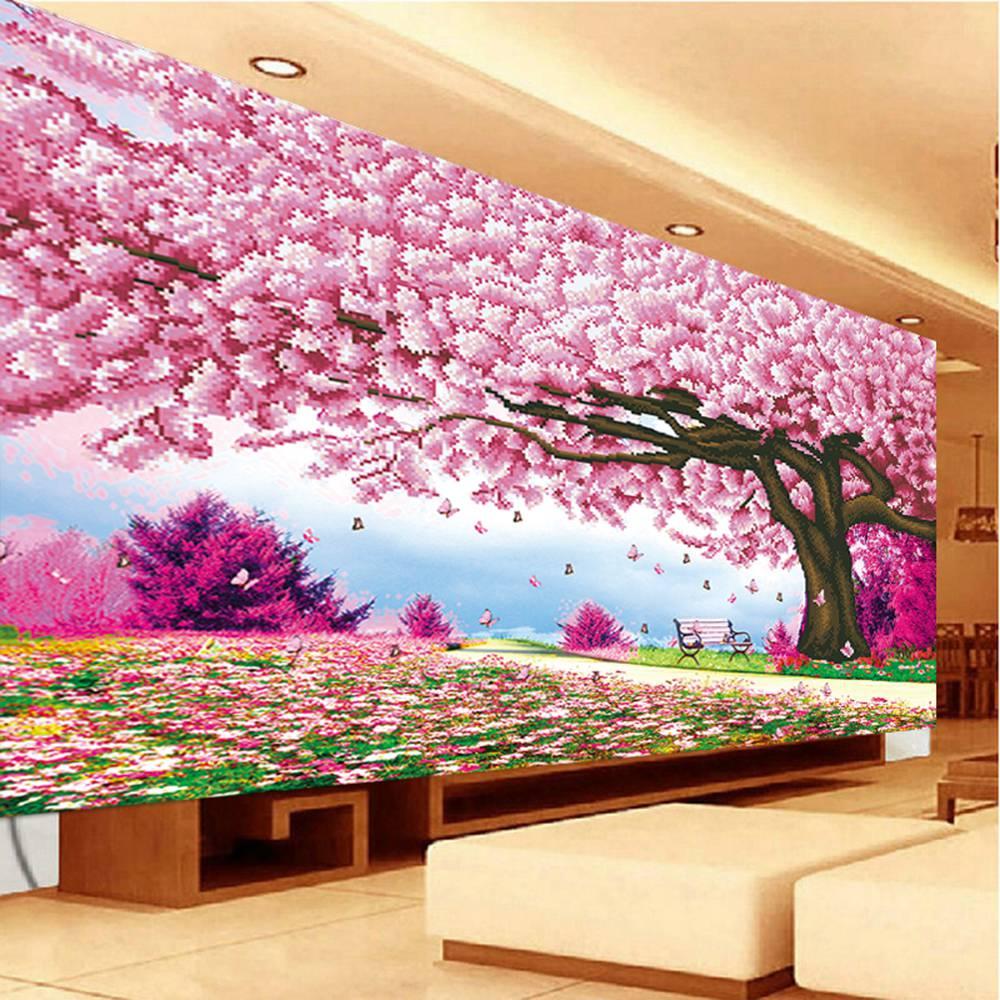 100*67 Cerise arbre imprimé perle point de croix broderie diamant rubiks cube diamant peinture fleur Romantique fleurs de cerisier