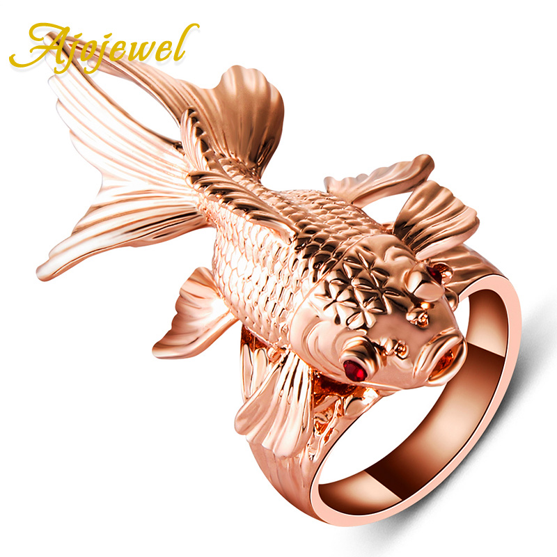Ajojewel Top Quality Amazing Animal Jewelry Big Punk Rose Gold-color Red Crystal Eyes Movable Fin Fish Ring dk readers l3 amazing animal journeys