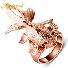 Ajojewel Top Quality Amazing Animal Jewelry Big Punk Rose Gold-color Red Crystal Eyes Movable Fin Fish Ring
