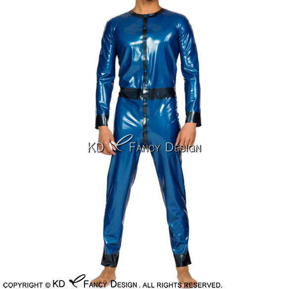 Blue With Black Sexy Latex Catsuit With Buttons Rubber Bodysuit Zentai Overall LTY-0144