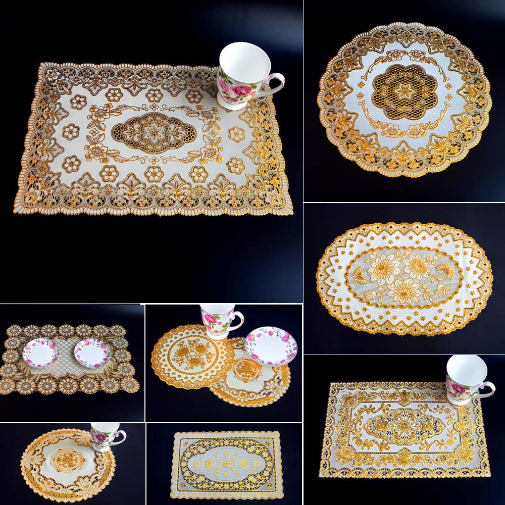Wholesale /retail, 2pcs European placemat PVC hot silver coaster/ high-grade heat insulation / cup / disc / coffee table mat