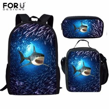 FORUDESIGNS Children School Bags set for Girls Boys Shark Do