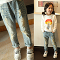 2016 Новая весна Девушки джинсы детская одежда, мода повседневная и рваные джинсы горячие продажа