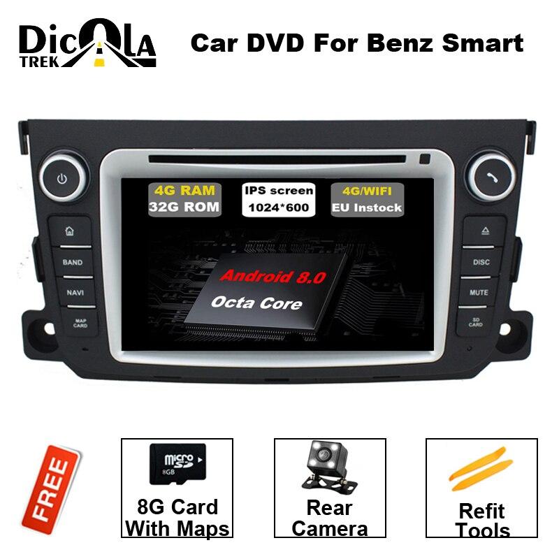 Android 8.0 Deux Din 7 pouce Système Lecteur DVD Stéréo De Voiture Pour Mercedes/Benz/Smart/Fortwo Octa noyaux 4g RAM WIFI Radio FM/AM GPS