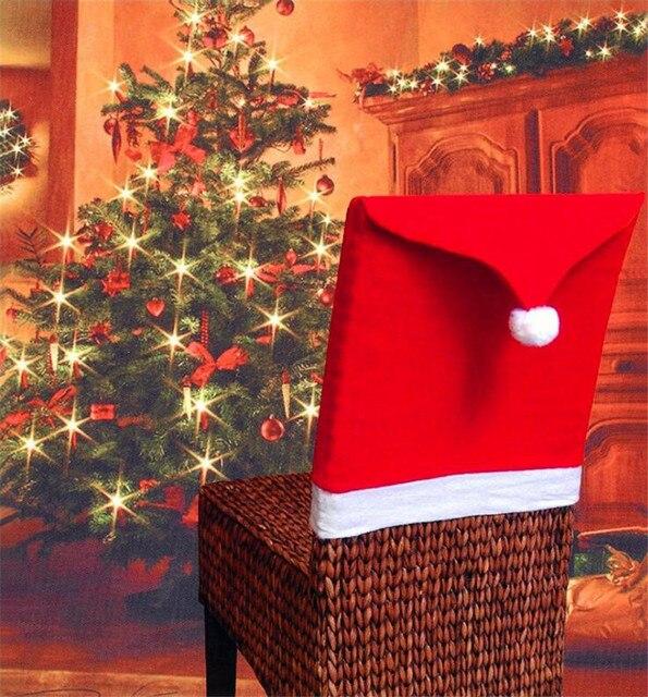Us 1248 6 Sztukzestaw Czapka świętego Mikołaja Krzesło Cover Christmas Dinner Table Strona Czerwony Kapelusz Krzesło Z Powrotem Obejmuje Xmas