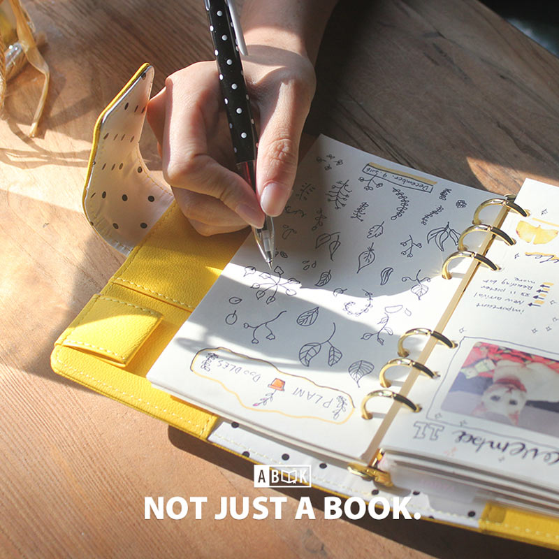 Yiwi Original Lemon Yellow A5 A6 Diary Pu Leather Planner 6 Loose Leaf Spiral Binder Notebook